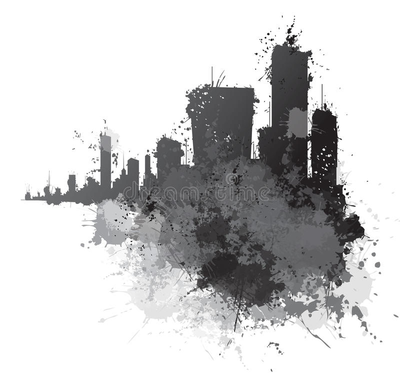 Arquitetura da cidade abstrata do vetor ilustração royalty free