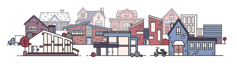 Arquitetura da cidade bonita com as várias construções da cidade construídas no estilo arquitetónico moderno Paisagem urbana com  ilustração royalty free