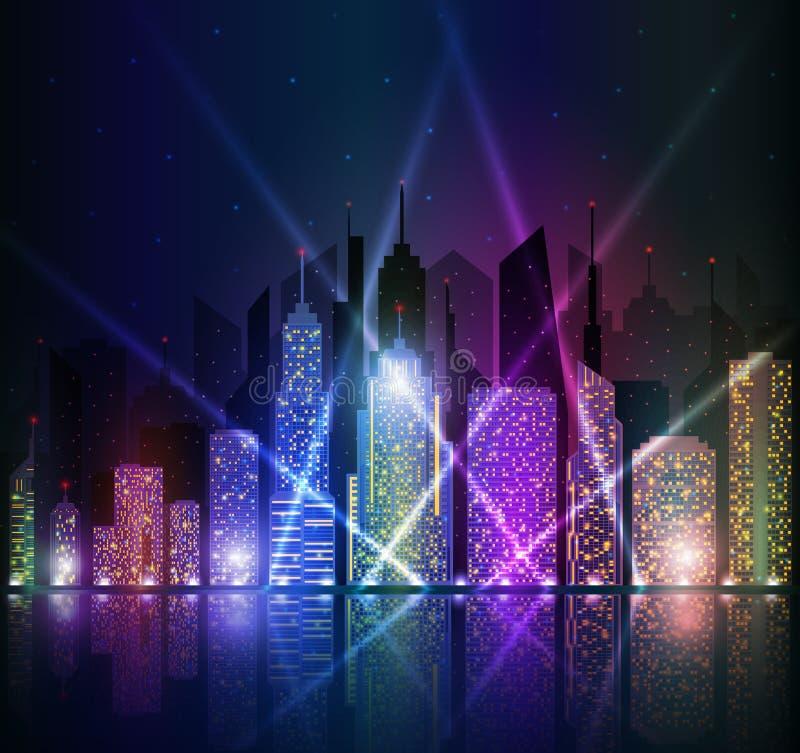 Arquitetura da cidade brilhante da noite ilustração stock