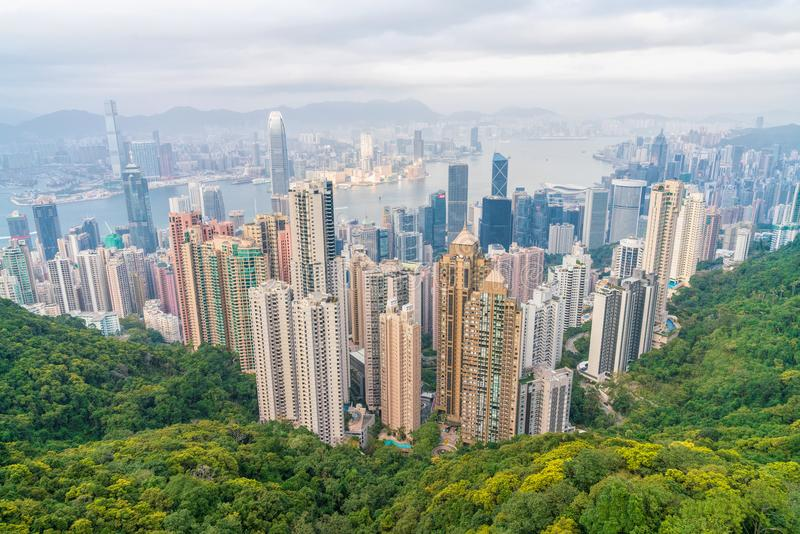 Arquitetura da cidade cênico de Hong Kong imagens de stock