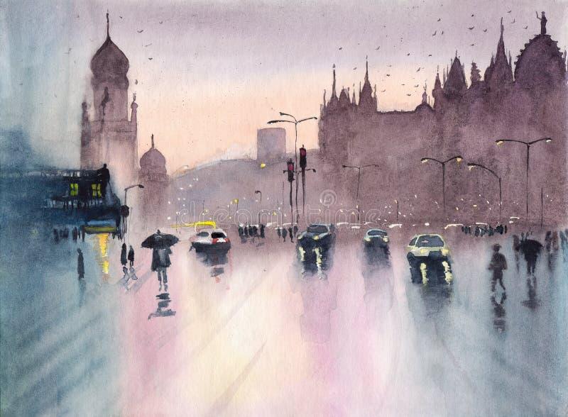 Arquitetura da cidade chuvosa de Mumbai da aquarela ilustração royalty free