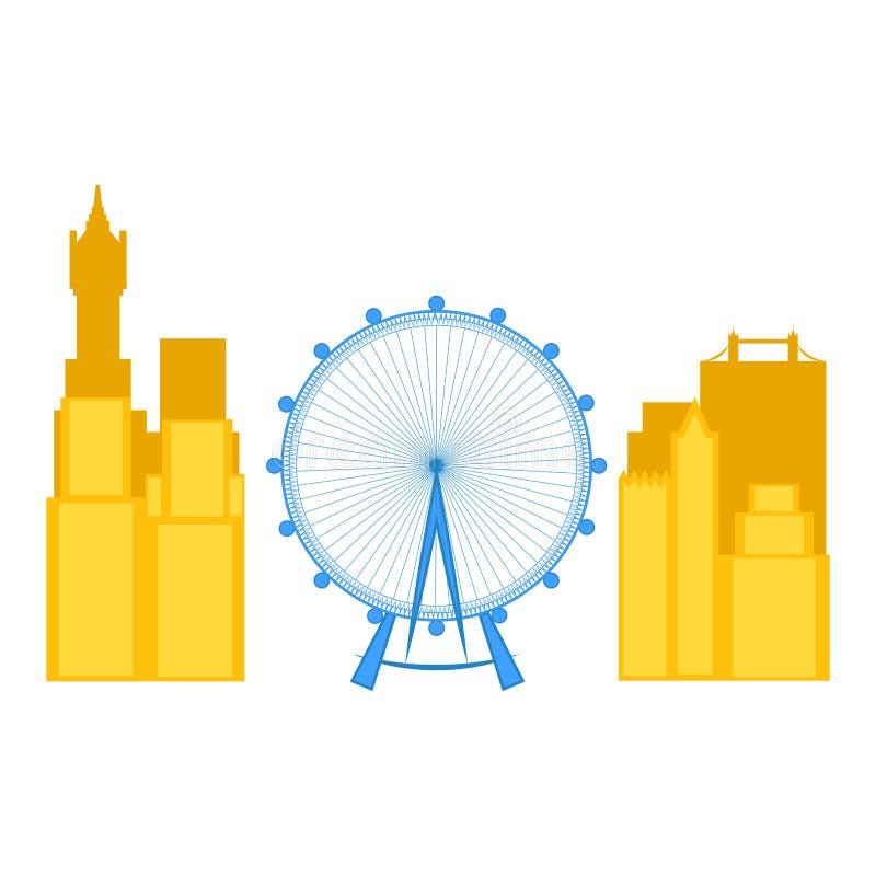 Arquitetura da cidade colorida de Londres com o olho de Londres ilustração do vetor