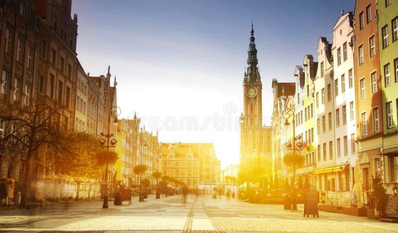 Arquitetura da cidade com as casas velhas em Gdansk, Polônia fotografia de stock royalty free