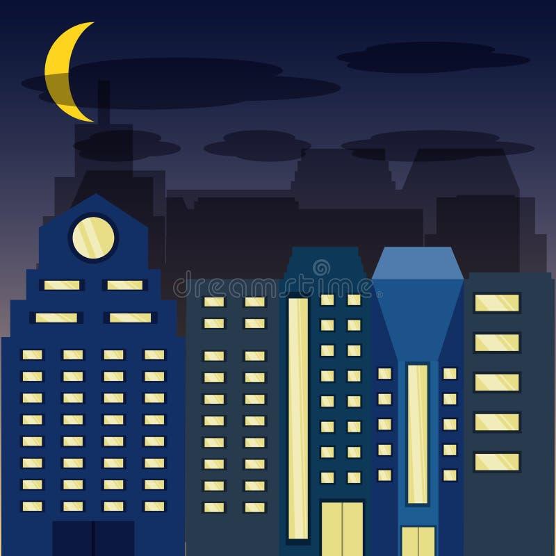 Arquitetura da cidade com buildig na noite ilustração do vetor