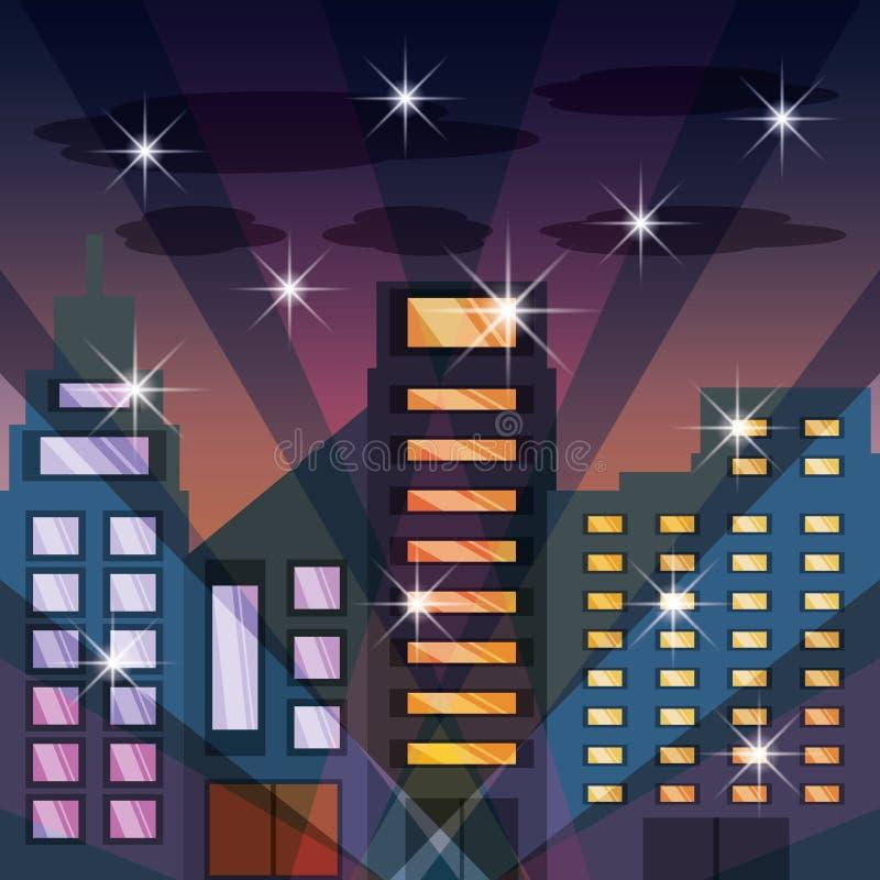 Arquitetura da cidade com buildig na noite ilustração royalty free