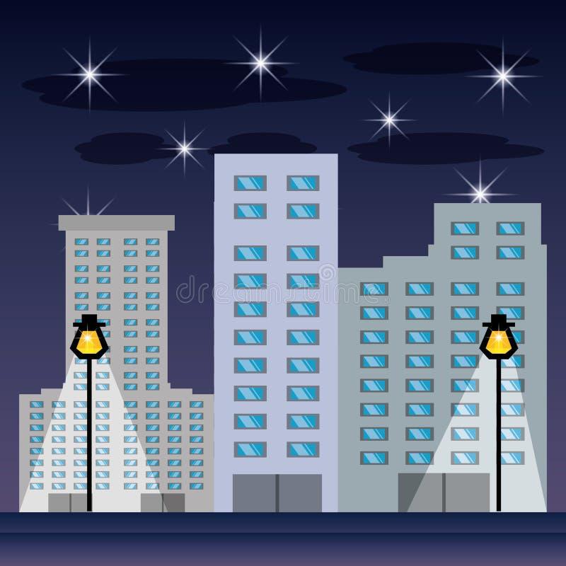 Arquitetura da cidade com buildig na noite ilustração stock