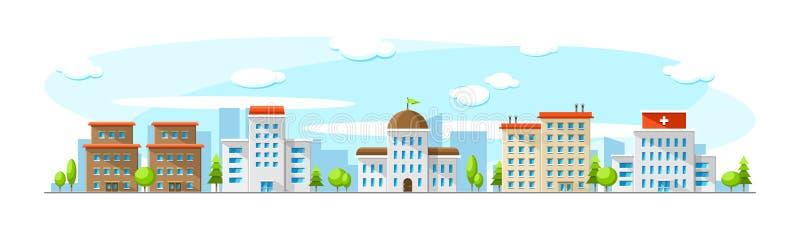 A arquitetura da cidade com construções velhas e modernas gosta do hospital, do parlamento, do escritório e da escola Ilustração  ilustração do vetor