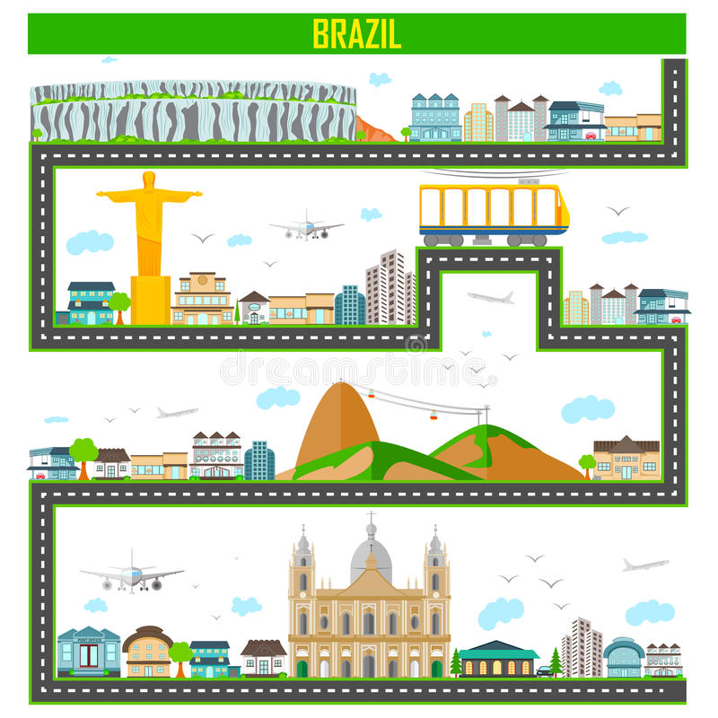 Arquitetura da cidade com monumento e construção famosos de Brasil ilustração royalty free