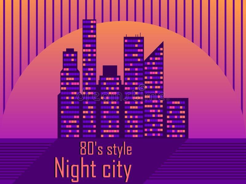 Arquitetura da cidade com os arranha-céus ao estilo dos anos 80 Futurismo retro Por do sol da cidade Luz nas janelas Vetor ilustração royalty free