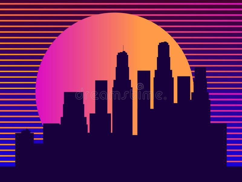Arquitetura da cidade com os arranha-c?us ao estilo dos anos 80 Futurismo retro Por do sol da cidade Luz nas janelas Vetor ilustração royalty free