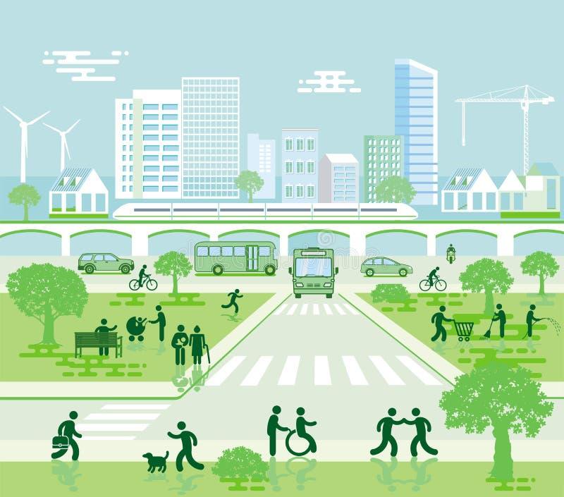 Arquitetura da cidade com tráfego local ilustração stock