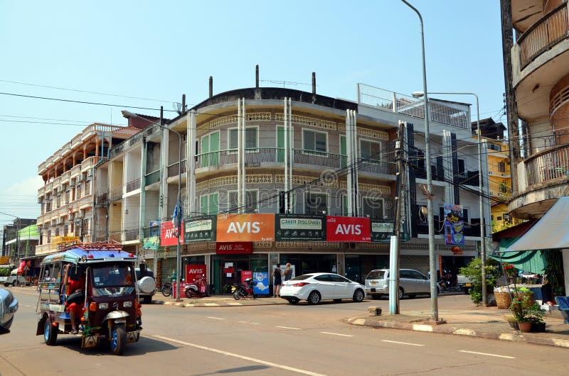 Arquitetura da cidade da cidade de Pakse em Laos foto de stock royalty free