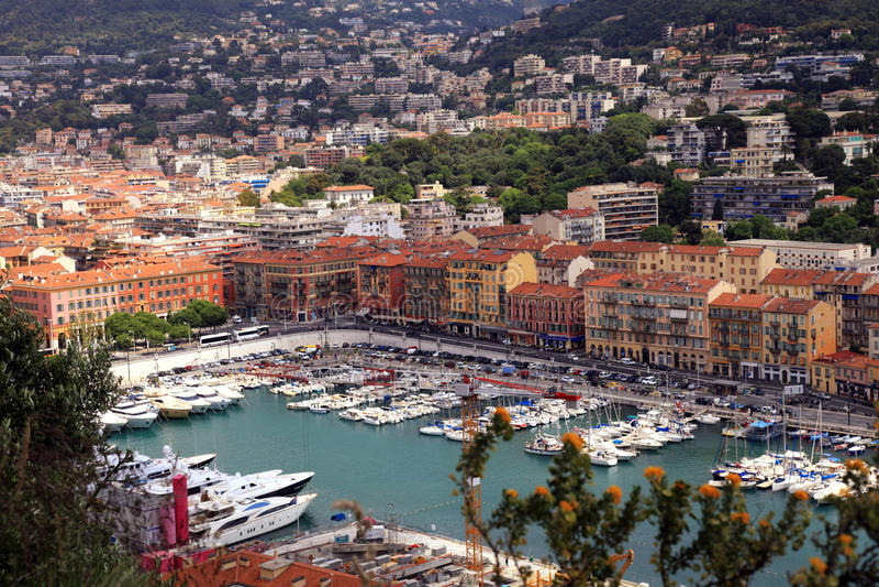 Arquitetura da cidade de agradável (França), opinião do porto de cima de foto de stock