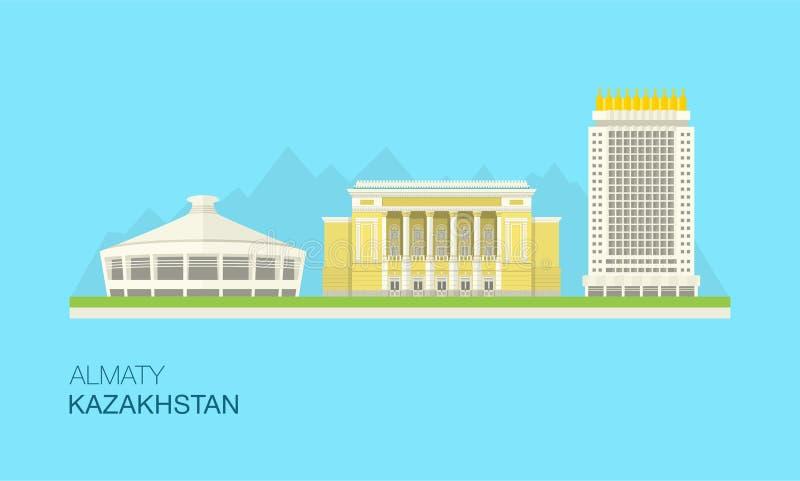 Arquitetura da cidade de Almaty, Cazaquistão imagens de stock royalty free