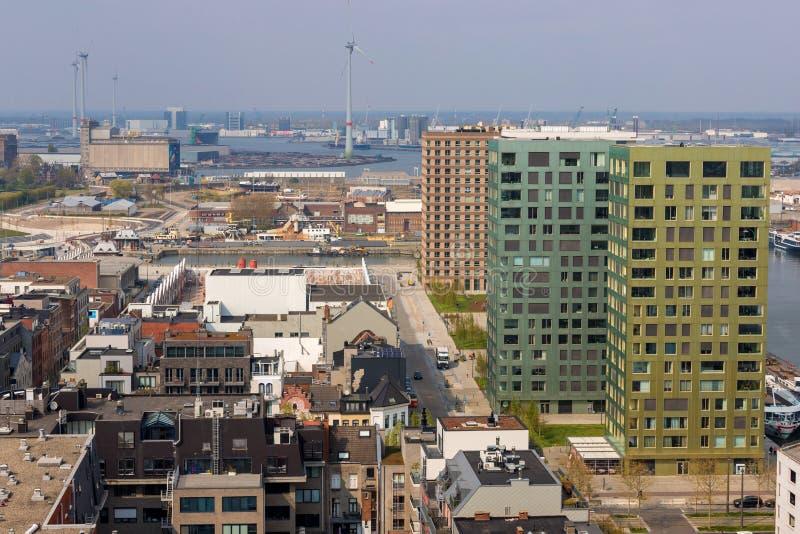 Arquitetura da cidade de Antwerpen Bélgica de cima de fotos de stock