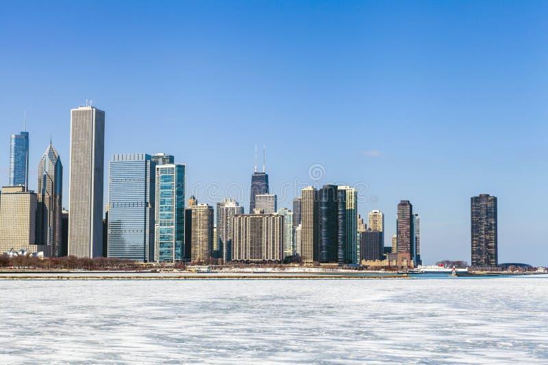 Arquitetura da cidade de Chicago no inverno foto de stock royalty free