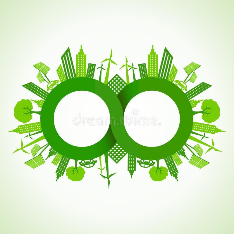 Arquitetura da cidade de Eco em torno do símbolo da infinidade ilustração royalty free