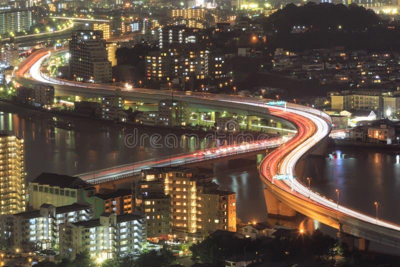 Arquitetura da cidade de Fukuoka, de Japão e prédios de escritórios fotografia de stock