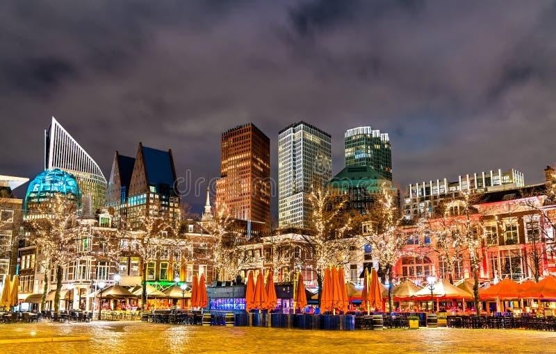 Arquitetura da cidade de Haia do quadrado do Het Plein Os Países Baixos fotografia de stock