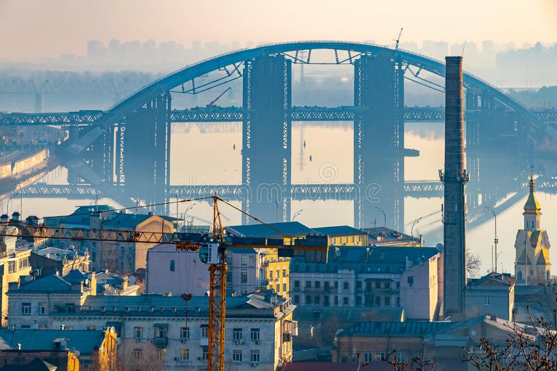 Arquitetura da cidade de Kiev com vista à cidade com arquitetura original, Ucrânia fotografia de stock royalty free