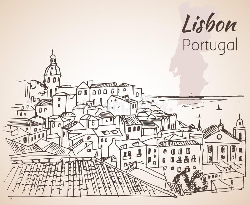 Arquitetura da cidade de Lisboa - esboço tirado mão ilustração stock