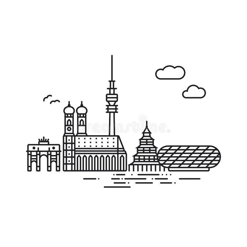 Arquitetura da cidade de Munich e ilustração do vetor dos marcos ilustração do vetor