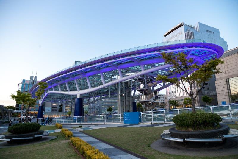 Arquitetura da cidade de Nagoya na noite em Japão foto de stock royalty free