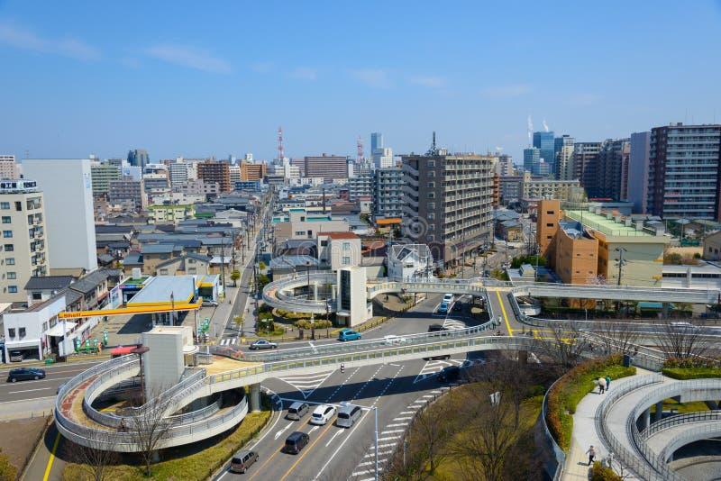 Arquitetura da cidade de Niigata em Japão fotografia de stock royalty free