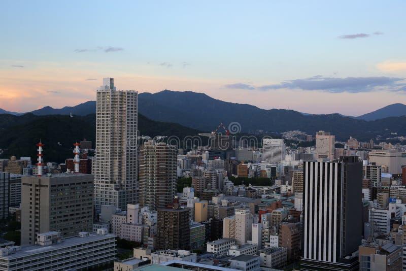 A arquitetura da cidade de Osaka, Japão imagem de stock