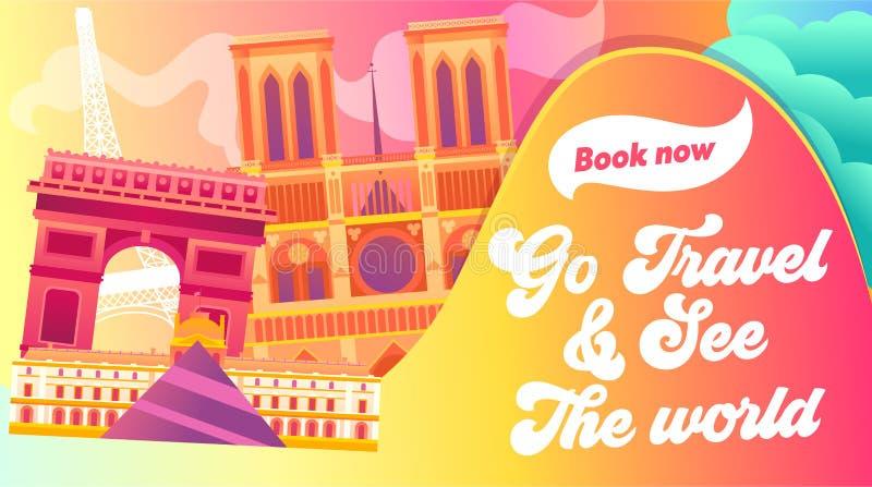Arquitetura da cidade de Paris com toda a imagem de constru??o famosa da cor r Louvre, arco triunfal, torre Eiffel ilustração stock