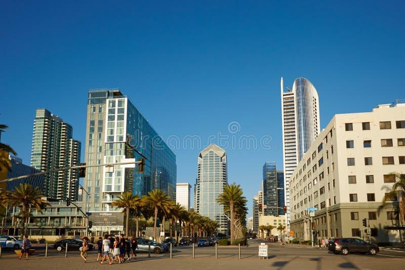 Arquitetura da cidade de San Diego e opinião da rua imagens de stock
