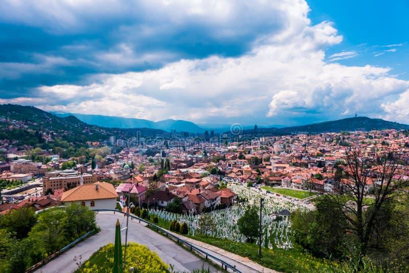 Arquitetura da cidade de Sarajevo, de Bósnia e de Herzegovina fotos de stock royalty free