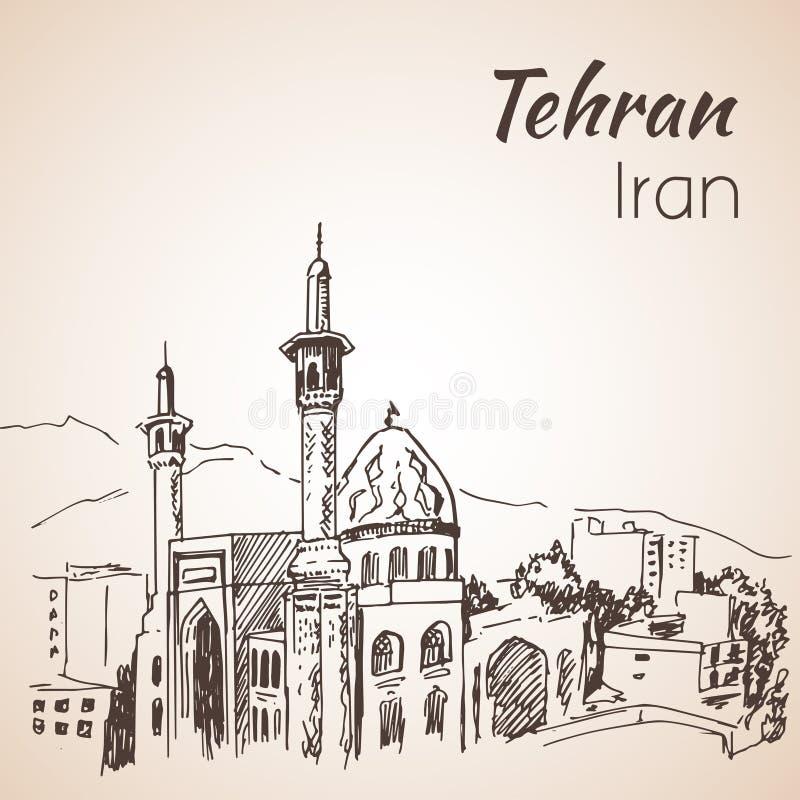 Arquitetura da cidade de Tehran - Irã esboço ilustração do vetor