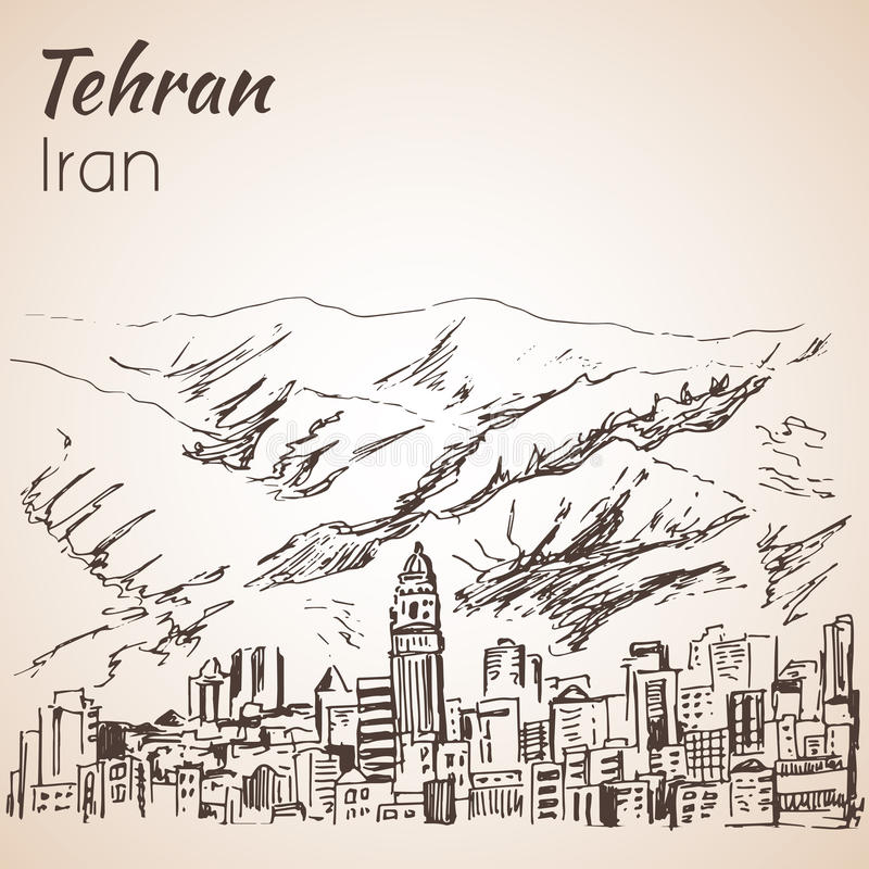 Arquitetura da cidade de Tehran - Irã esboço ilustração royalty free