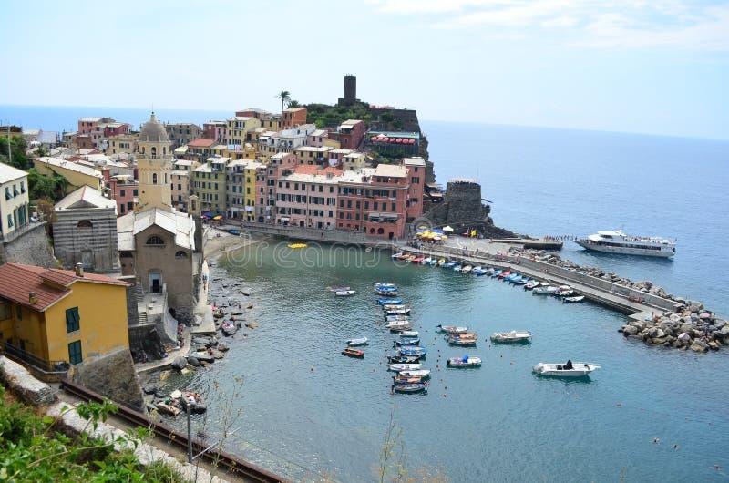 Arquitetura da cidade de Vernazza em Cinque Terre Local do património mundial do Unesco Liguria Italy fotografia de stock