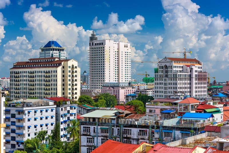 Arquitetura da cidade de Yangon foto de stock