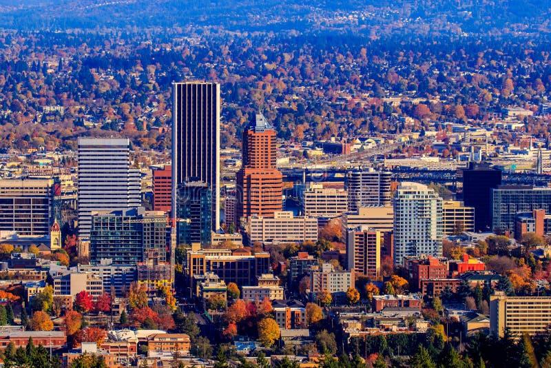 Arquitetura da cidade do centro de Portland imagens de stock