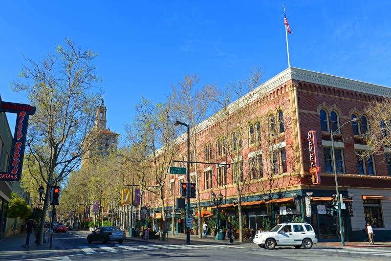 Arquitetura da cidade do centro de San Jose, Califórnia, EUA imagens de stock royalty free