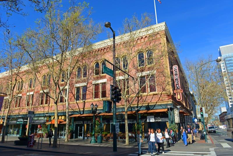 Arquitetura da cidade do centro de San Jose, Califórnia, EUA fotos de stock