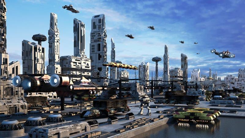 arquitetura da cidade do conceito da fantasia do Scifi da rendição 3d a cidade da represa ilustração royalty free