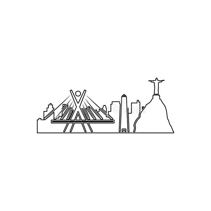 arquitetura da cidade do ?cone de Rio de janeiro Elemento da arquitetura da cidade para o conceito e o ?cone m?veis dos apps da W ilustração do vetor