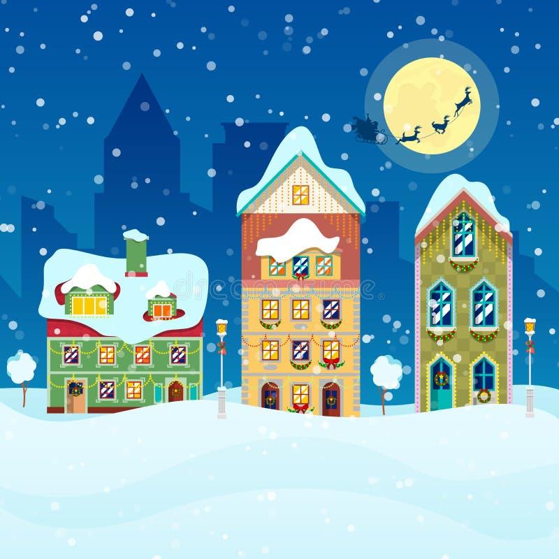 Arquitetura da cidade do Feliz Natal com queda de neve, casas ilustração do vetor