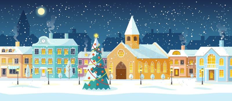 Arquitetura da cidade do inverno, rua nevado com árvore de Natal ilustração royalty free