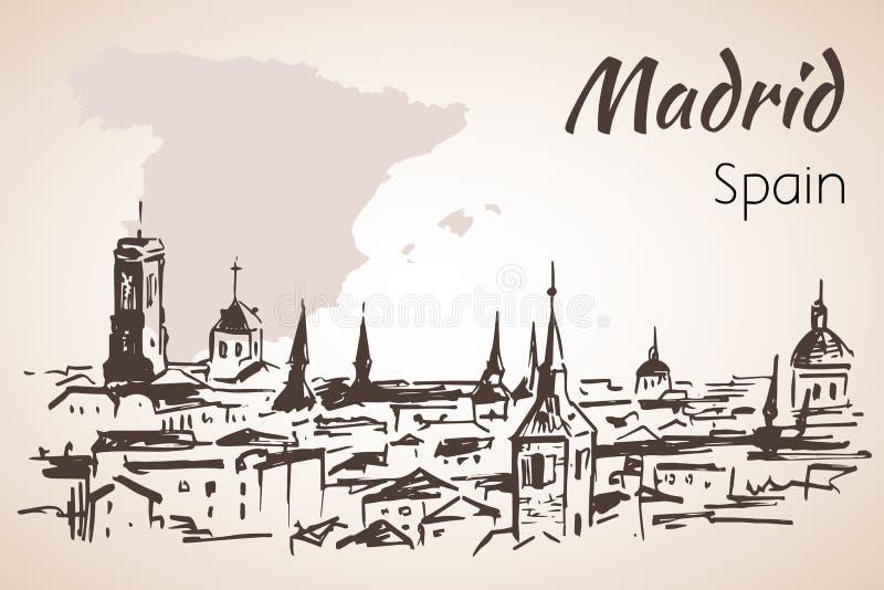 Arquitetura da cidade do Madri com mapa ilustração do vetor