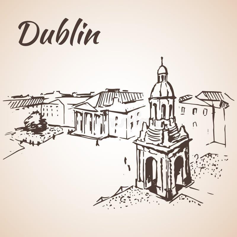 Arquitetura da cidade do quadrado de Dublin - Irlanda ilustração do vetor
