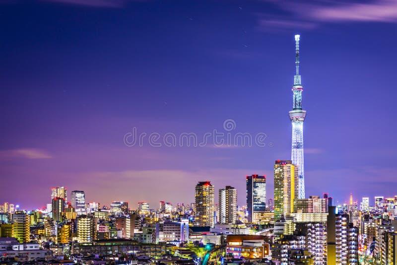 Arquitetura da cidade do Tóquio com Skytree imagem de stock