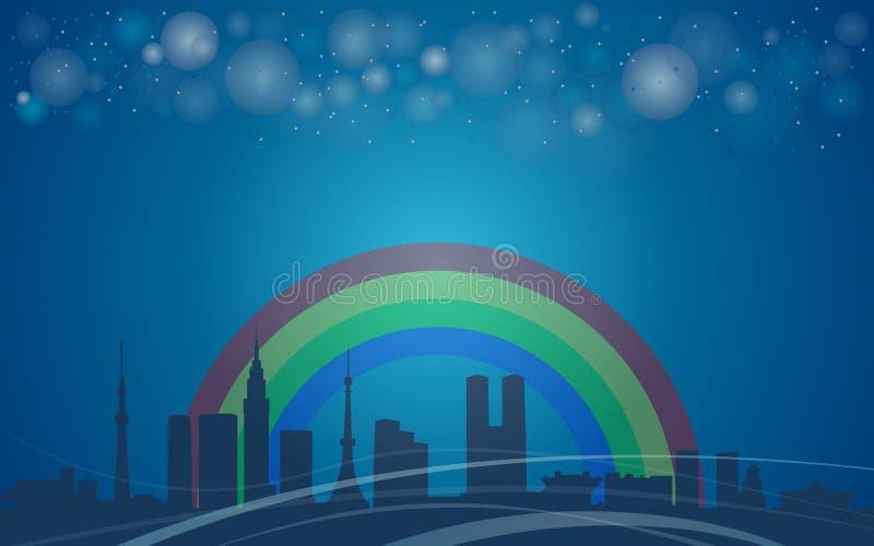 A arquitetura da cidade da cidade do Tóquio, Japão, arco-íris ilustração do vetor
