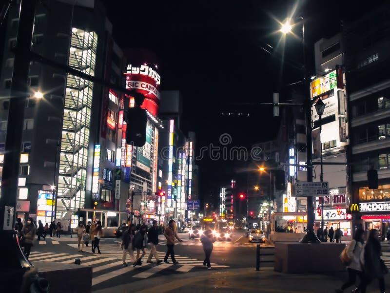 Arquitetura da cidade do T?quio na noite foto de stock royalty free