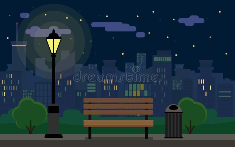 Arquitetura da cidade e banco da noite ilustração stock
