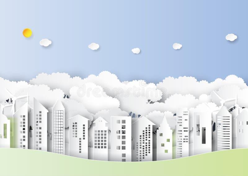 A arquitetura da cidade e a natureza urbana da floresta ajardinam o estilo de papel da arte ilustração royalty free